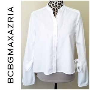 BCBGMaxzria White Cotton Button Up w/Bell Sleeves